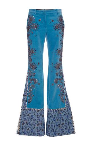 Medium roberto cavalli blue embroidered velvet pants