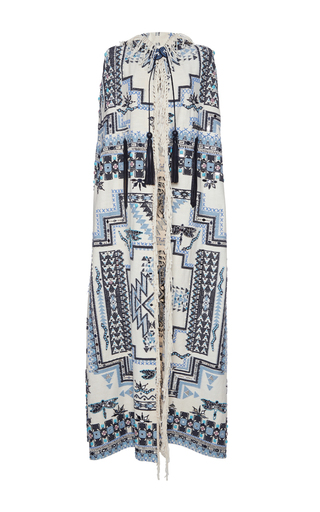 Medium roberto cavalli print fringe hooded long cape