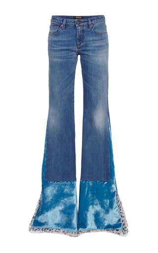 Medium roberto cavalli blue velvet detailed flared jeans
