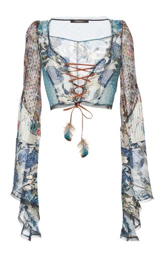 Medium roberto cavalli multi lace up flared sleeve top