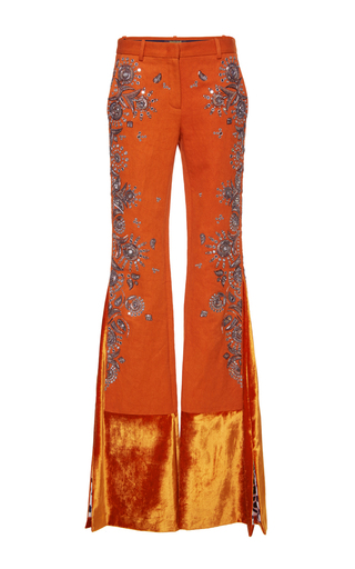Medium roberto cavalli orange embroidered flared velvet cuff pants
