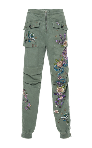 Medium roberto cavalli green embroidered cotton cargo pants