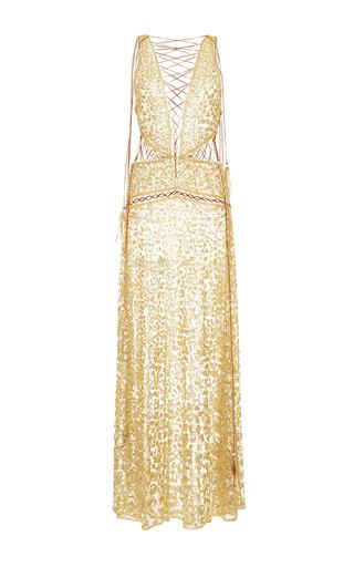 Medium roberto cavalli gold cutout metallic long dress