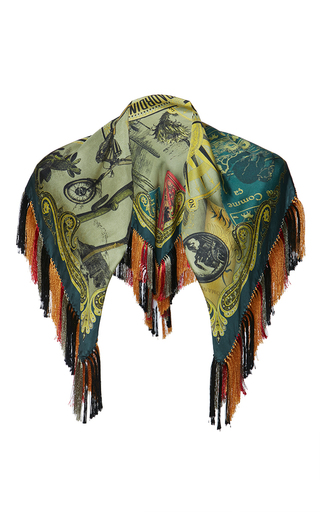 Medium etro green goa fringed scarf