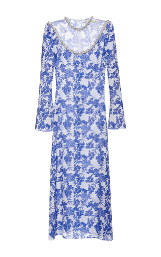 Medium francesco scognamiglio print jewel leaf neck midi dress