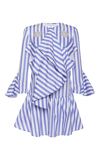 Medium francesco scognamiglio stripe flounced bib mini dress