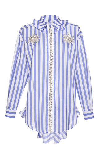 Medium francesco scognamiglio stripe jeweled flounced collar top