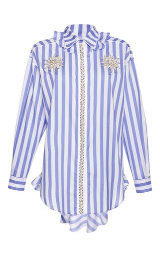 Medium francesco scognamiglio stripe jeweled flounced collar top