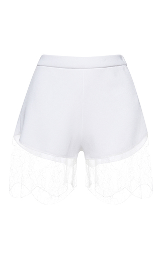 Medium francesco scognamiglio white high waist lace hem shorts