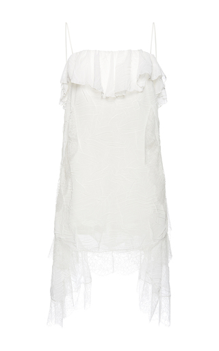 Medium francesco scognamiglio white flounced neck asymmetrical dress