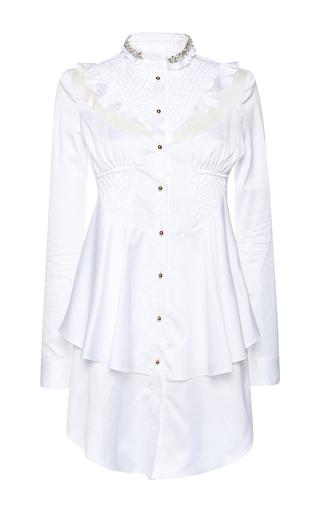 Medium francesco scognamiglio white flounced bib peplum dress