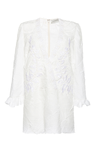 Medium francesco scognamiglio white plunging v neck flounced cuff dress