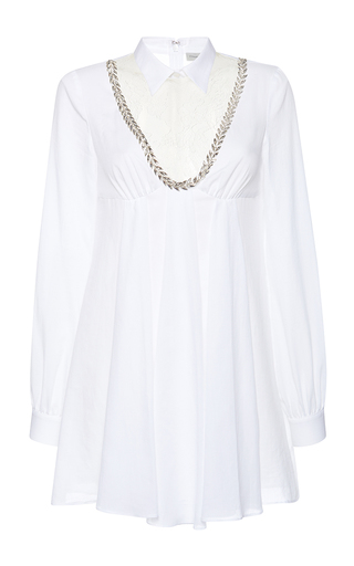 Medium francesco scognamiglio white cuffed jewel detail dress