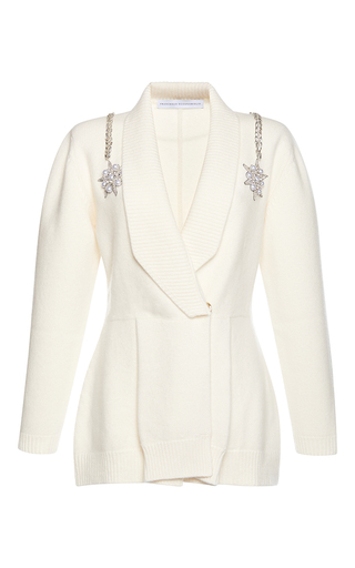 Medium francesco scognamiglio white jeweled v neck knit top