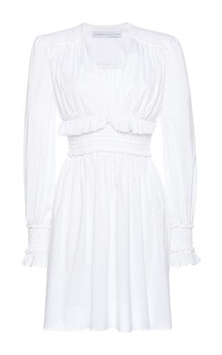 Medium francesco scognamiglio white flounced cuff mini dress