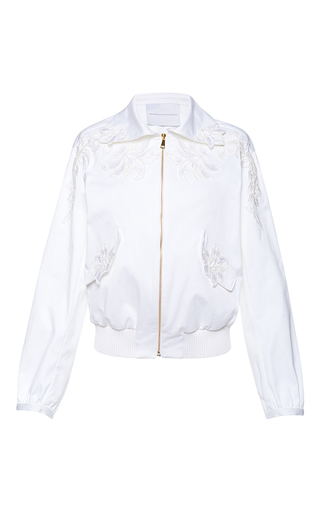 Medium francesco scognamiglio white embroidered bomber jacket