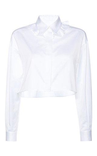 Medium francesco scognamiglio white cropped flounced collar blouse