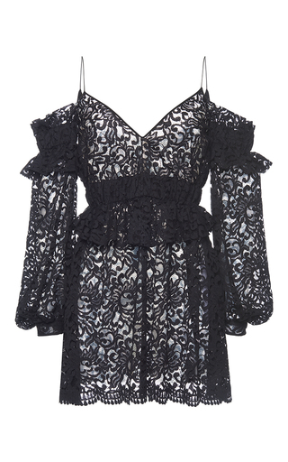 Medium francesco scognamiglio black eyelet lace cold shoulder dress