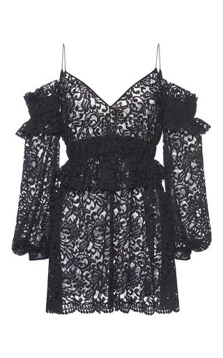 Medium francesco scognamiglio black eyelet lace cold shoulder dress