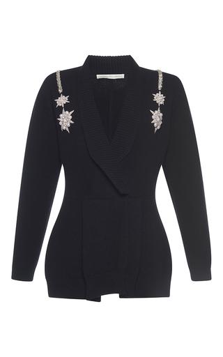 Medium francesco scognamiglio black jeweled v neck knit top 2