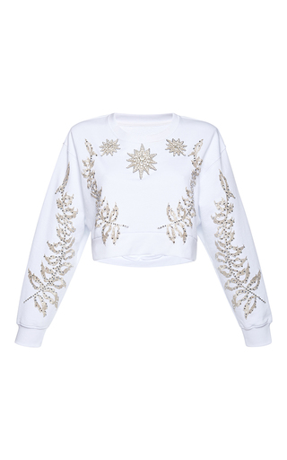 Medium francesco scognamiglio white jeweled oversized top