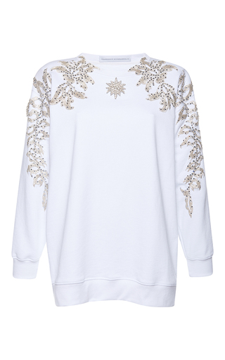 Medium francesco scognamiglio white jeweled long sleeve top