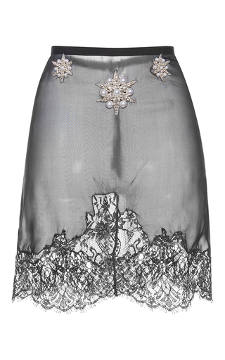 Medium francesco scognamiglio black pearl lace skirt