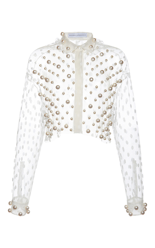 Medium francesco scognamiglio white pearl cropped top