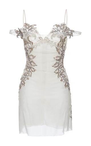 Medium francesco scognamiglio white bead embellished cold shoulder dress