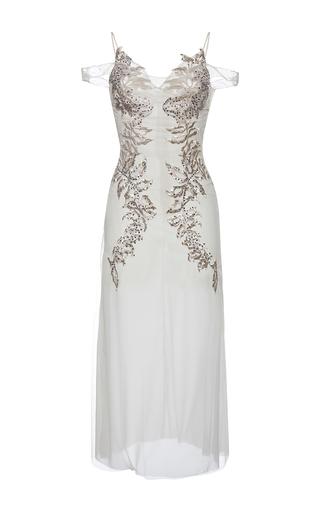 Medium francesco scognamiglio white bead embellished cold shoulder midi dress