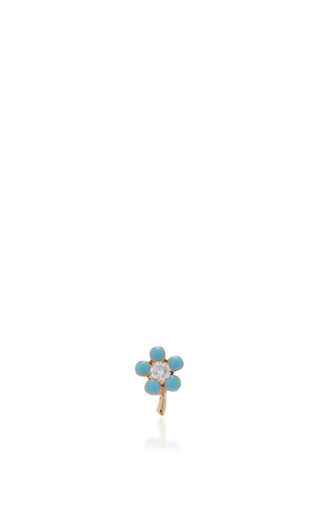 Medium alison lou blue tiny flower stud