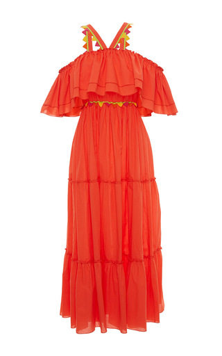 Medium blugirl orange off the shoulder halter ruffle maxi dress