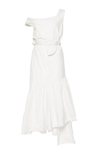 Medium isa arfen ivory asymmetric metal cotton ruffle dress
