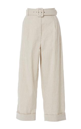 Medium isa arfen khaki safari linen tapered trousers