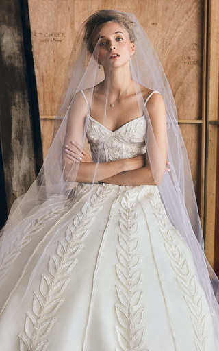 Medium elizabeth kennedy white m o exclusive sweetheart foliage gown