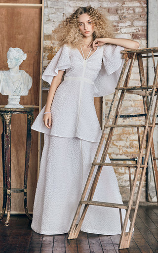 Medium rosie assoulin white m o exclusive happy clouds tie neck gown