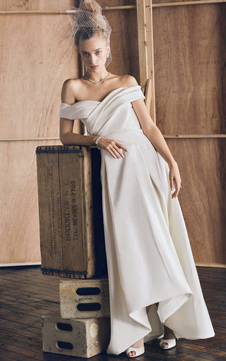 Medium j mendel white m o exclusive off the shoulder gown