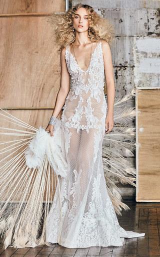 Medium costarellos white m o exclusive v neck mermaid gown