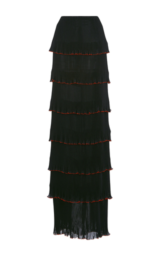Medium mary katrantzou black pantheon pleated column skirt