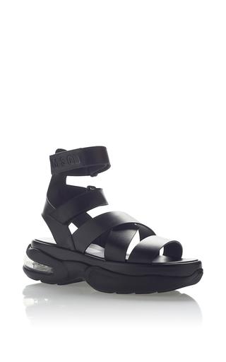 Medium msgm black leather sandal