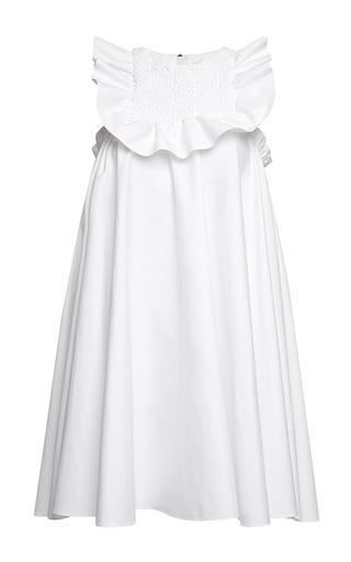 Medium msgm white ruffle sleeveless smock dress