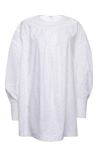 Medium msgm white mini long sleeve eyelet shirt dress