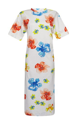 Medium msgm floral floral t shirt dress