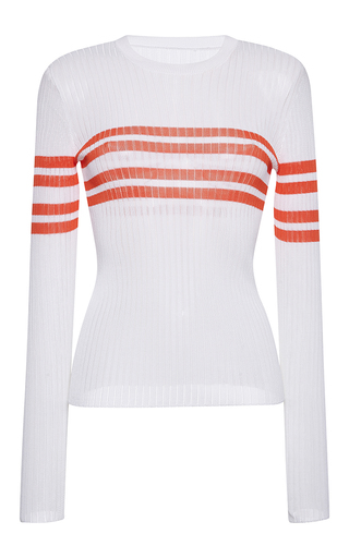 Medium msgm white striped ribbed crewneck top