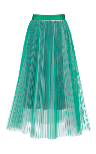 Medium msgm green accordion pleat skirt
