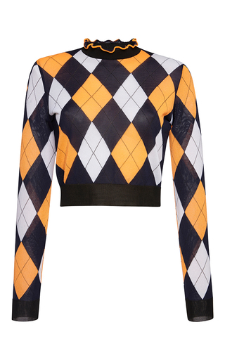Medium msgm orange argyle print knit