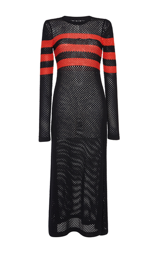 Medium msgm black mesh knit stripe dress