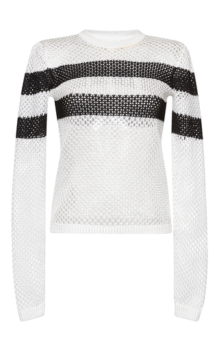 Medium msgm stripe mesh knit stripe top