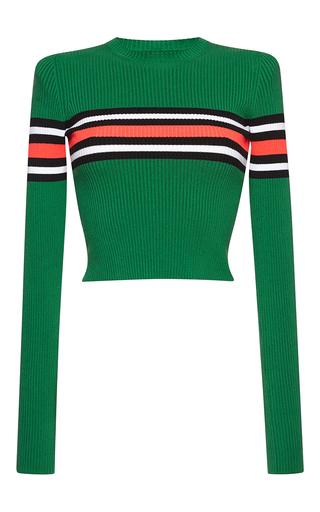Medium msgm green cropped stripe knit top