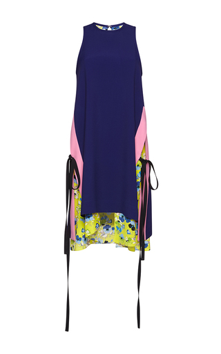 Medium msgm blue color block blue tie dress